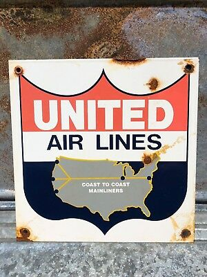 Vintage United Airlines Porcelain Sign Aviation Gasoline