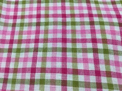 Alan Flusser Pink Green White Plaid Long Sleeve Shirt Linen Cotton
