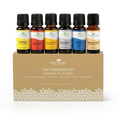 Plant Therapy Essential Oils Top 6 Blends Set 6 - 10 mL, 100% Pure, Undiluted