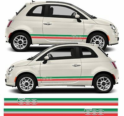 Fiat 500 595 Italian flag Side Stripes Graphics Decals Stickers Vinyls quality