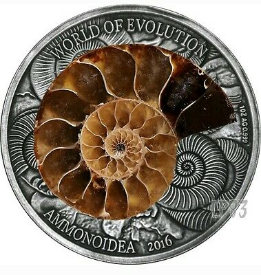 2016 1 Oz Silver AMMONITE World of Evolution Coin - 1000 Francs Burkina Faso.