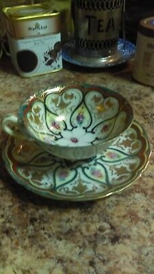 Old Very Unique Collectors Bone China Teacup & Saucer