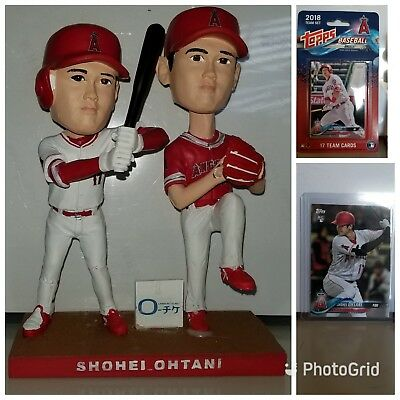 e5aed2985c8 Los Angeles Angels Shohei Ohtani Double Bobbleheads SGA 7 12 + Topps Rookie  Card