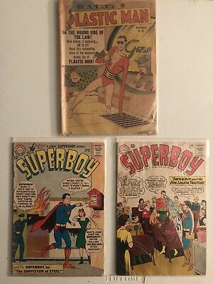 SUPERBOY #105 & #117 And PLASTIC MAN #26 GOLD/SILVER AGE LOT OF 3. PR/GD
