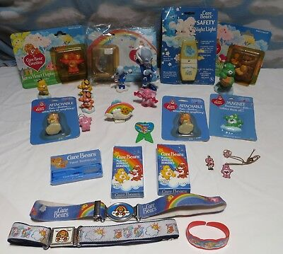 CARE BEARS Vintage Lot of Misc Items & Figurines bandages Nite Lite Key Rings