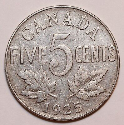 Canada 1925  George V  Key Date Nickel Five Cents Circulated- VG    # B-01