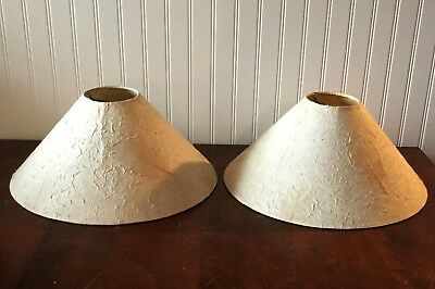 Pair Of Lamp Shades Contemporary Crinkle With Leaves Low And Wide Clean