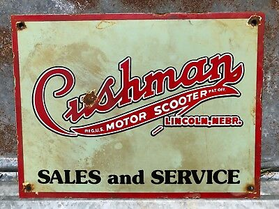 Porcelain Cushman Scooter Sales And Service Sign