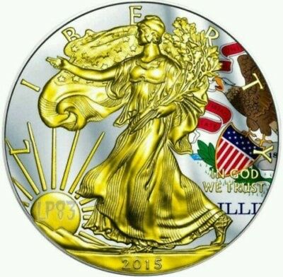 2015 1 Oz Silver AMERICAN EAGLE STATE FLAG ILLINOIS Coin WITH 24K Gold Gilded