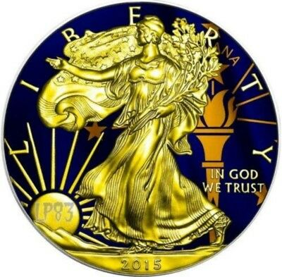2015 1 Oz Silver AMERICAN EAGLE STATE FLAG INDIANA Coin WITH 24K Gold Gilded