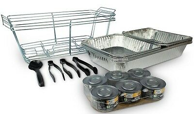 Buffet Food Service Party Set with Chafing Safe Heat Fuel Utensils & Pans 24pc.