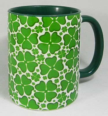 Lucky Four Leaf Clover Mug with green glazed handle and inner