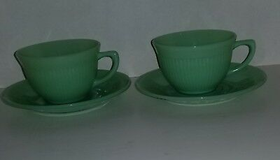 Anchor Hocking Fire King Jadite Jane Ray Ribbed Tea Cup & Saucer Set of 2 ea