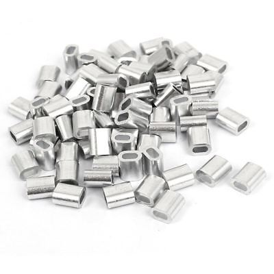 2mm Aluminum Double Hole Wire Rope Clamp Clip Sleeve 80 Pcs Y4V7