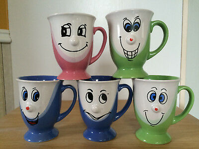 Funny Face Emoticon Coffee Mug X 5 3D Protruding Nose Green Blue Pink White