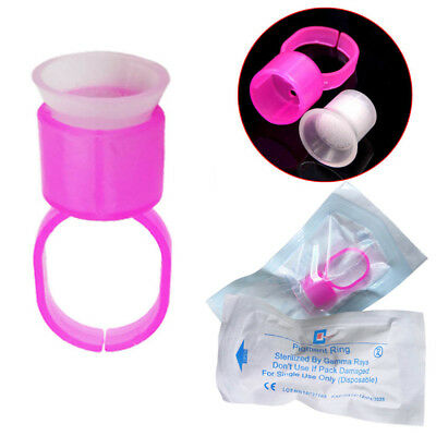 Microblading Glue Rings Ink Cup Tattoo Supplies Pigment Sponge Holder Pink