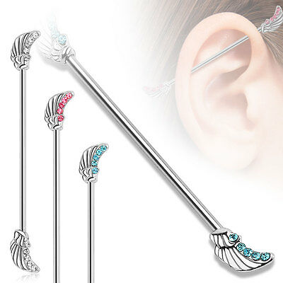 Gemmed ANGEL WINGS Industrial Barbell Scaffold EAR Helix Rings PIERCING JEWELRY