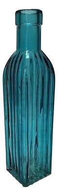 Teal Colored Glass Square Bottle / Vase / Collectibles By Backwoods Lighting LLC