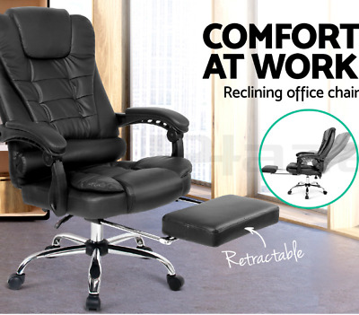 PU Leather Executive Office Computer Chair Footrest 135° back Recliner Armrest