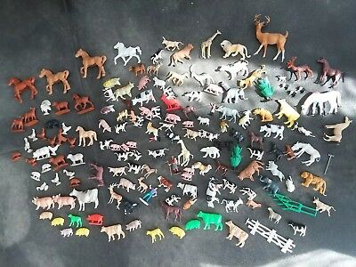 Vtg Large Lot Of Animals Farm Cow Pig Horse Some Auburn Rubber Deer Turkey Hen