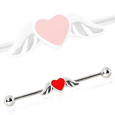HEART ANGEL WING Steel Industrial Bar Scaffold Ear Barbell Ring PIERCING JEWELRY