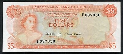 PICK# 29a 1968 $5 FIVE DOLLARS BAHAMAS MONETARY AUTHORITY BANKNOTE ABOUT UNC