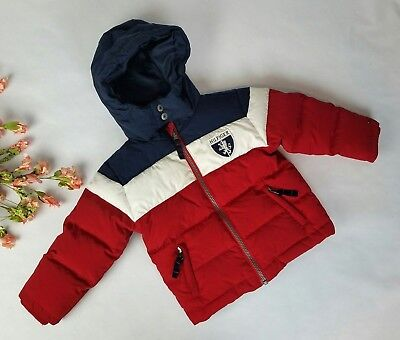 tommy hilfiger kids 2t toddler boys down puffer spellout crest colorblock