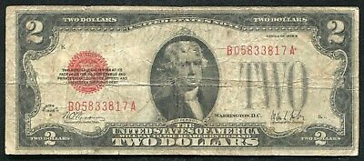 """Fr. 1503 1928-B $2 Two Dollars Red Seal Legal Tender United States Note """"Key"""""""