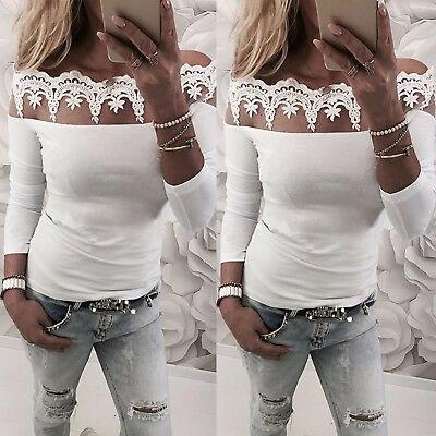 Fashion Womens Lace Off The Shoulder Long Sleeve T-Shirt Tops Blouse Shirts Tee