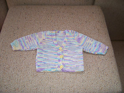 New Hand Knitted Baby Cardigan  Multi Coloured  Newborn