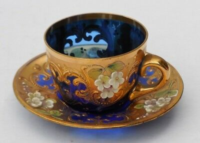Demitasse Cup & Saucer in Cobalt Italian Murano Glass w/ Applied Floral & Gilt D