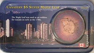 Toned 1999 $5 SILVER CANADIAN MAPLE LEAF 1 oz Fine SILVER .999 PURE (LITTLETON)