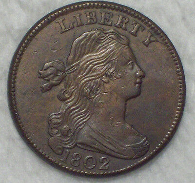 1802 LARGE CENT *RARE* S-232 Variety Strong AU+ Detailing Brown Tone T over Y