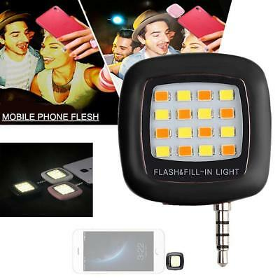 16 LED Camera Selfie Fill Flash Light 3.5mm For Android IOS iPhone 5s 6 Black GL
