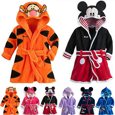 Baby Kids Boys Girls Warm Hooded Bath Robe Cartoon Nightwear Sleepwear Pj's Gown