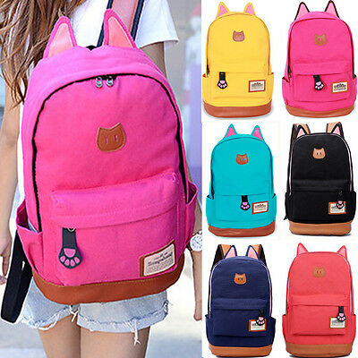 Womens Girls Cat Ear Canvas School Backpack Shoulder Book Bags Travel Rucksack