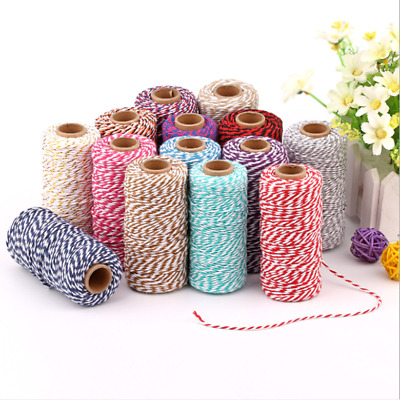 100m 2mm Natural Macrame Cotton Rope Two-color Mixing Twisted Cord Hand Craft HK