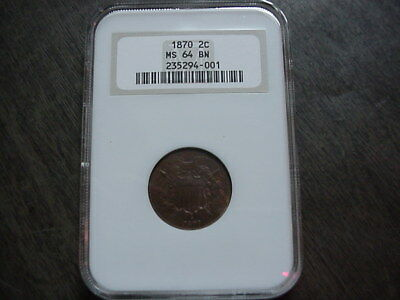 1870 US TWO CENT 2 c PIECE COIN MS64 MS 64 BN NGC BROWN KEY DATE NICE TYPE NR !!
