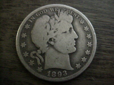 1893-S Us Barber Silver Half Dollar Better Key Date Good+ Free Shipping Usa Nr!!