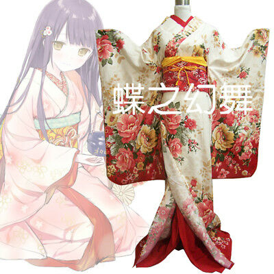 Women Japanese Long Furisode Kimono Floral Peony Traditional Cosplay Costume