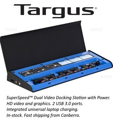 New Targus Dual Video Laptop Docking Station Power Charge Dock Universal USB 3.0