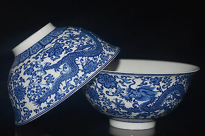 2Pcs Delicate Chinese Blue And White Porcelain Handmade Painted Dragon Bowl