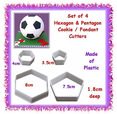 Set of 4 Hexagon & Pentagon cookie / fondant cutters - small & large - cupcake