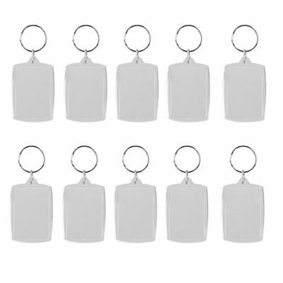 10 Pcs Porte-cles Anneau Brise DIY Cadre Photo Rectangle 4x5.6CM U4S3