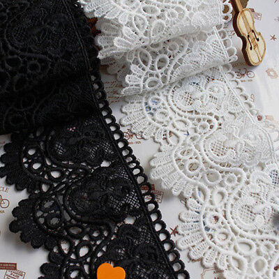 1yd Embroidered Cotton Lace Edge Trim DIY Ribbon Wedding Applique Sewing Craft
