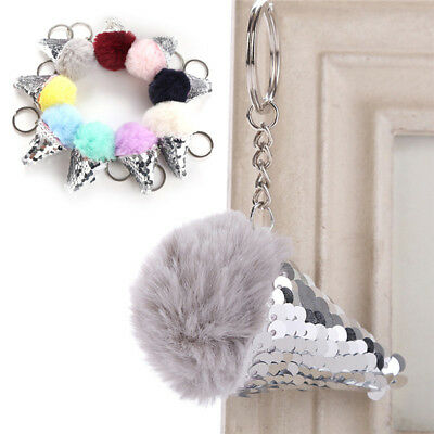 Soft Faux Fluffy Fur Pompom Ice Cream Keychain Keyring Bag Charm Pendant Gift SR