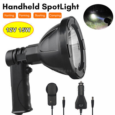 12V 15W CREE Handheld Spot Light Rechargeable LED Spotlight Hunting Shooting AU