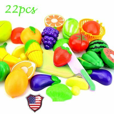 22X Cutting Fruits and Vegetables Toy Playset Pretend Play Game for Kids Gift B2