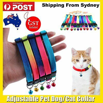 UP 48 Adjustable Pet Dog Collar With Bell Colourful Pets Cat Puppy Harness Walk