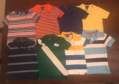 Boys 8 polo shirt lot Ralph Lauren Polo Hilfiger Size 6 pre-owned 8 polos